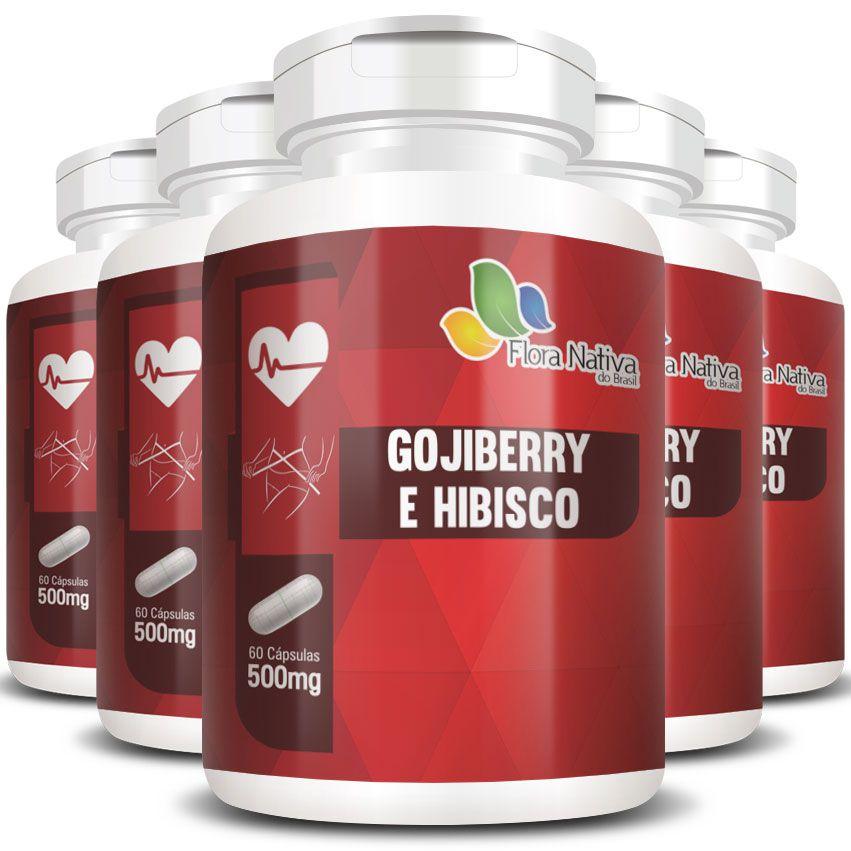 Goji Berry e Hibisco 500mg - Fórmula Potencializada - 05 Potes  - LA Nature