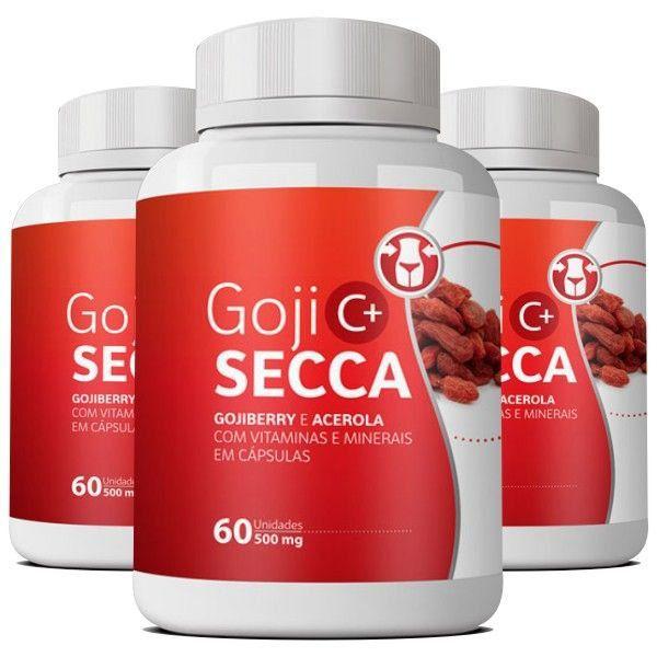 Goji Secca C+ Emagrecedor   Original - 500mg   03 potes  - LA Nature