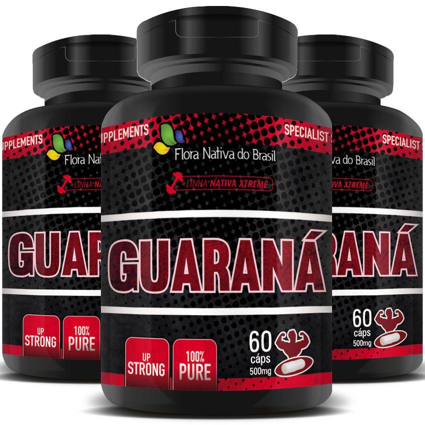 Guaraná 100% Puro - 500mg - 03 Potes (180 cápsulas)  - LA Nature