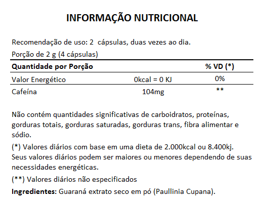 Guaraná 100% Puro - 500mg - 05 Potes (300 cápsulas)  - LA Nature