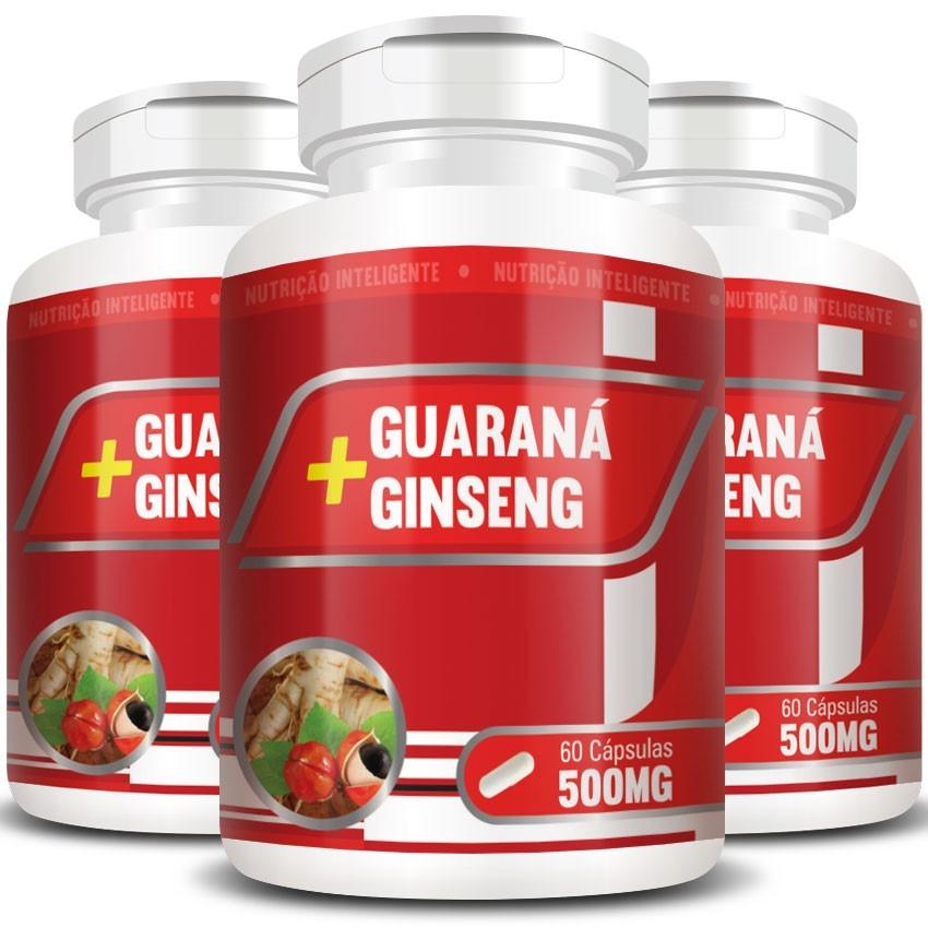 Guaraná + Ginseng 500mg - 3 Potes (180 cáps.)