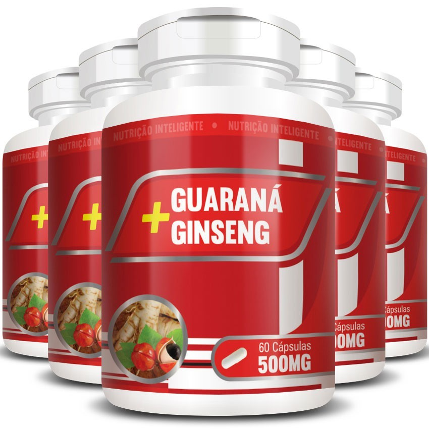 Guaraná + Ginseng 500mg - 5 Potes (300 cáps.)