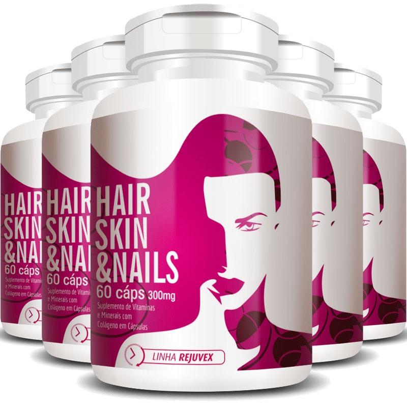 Hair Skin & Nails Mulher | Cabelos, Unhas e Pele - 5 Potes (300 cáps.)
