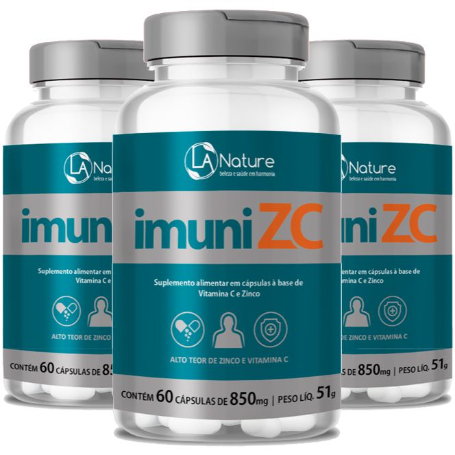 ImuniZC - Original - 850mg - 03 Potes (Aumentar a Imunidade)  - LA Nature