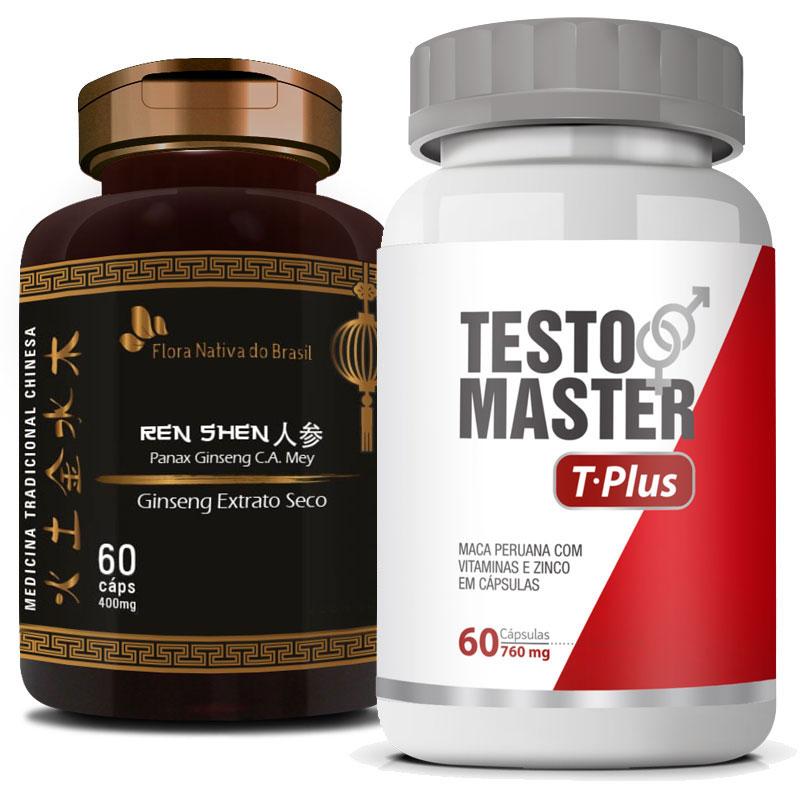 Kit - Testomaster T-Plus 760mg + Ginseng Extrato Seco 400mg