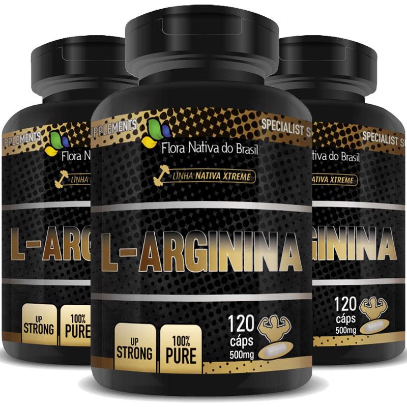 L-Arginina 500mg - 100% Pure - 3 Potes (360 cáps.)