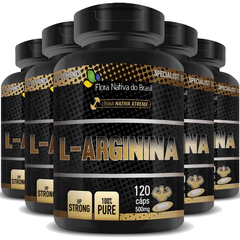 L-Arginina 500mg - 100% Pure - 5 Potes com 120 cáps. (cada)