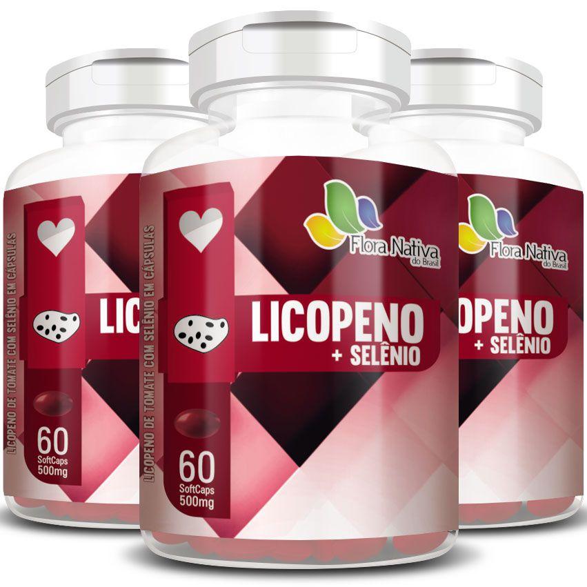 Licopeno + Selênio 500mg - 3 Potes (180 cáps.)