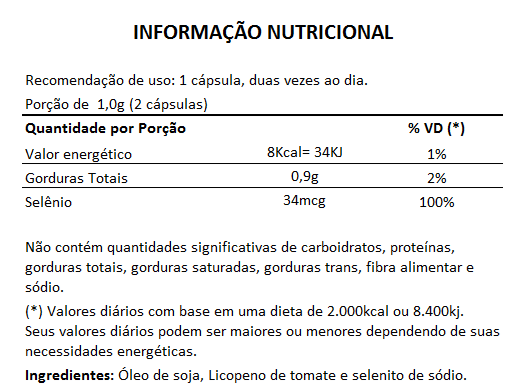 Licopeno + Selênio - 60 cápsulas de 500mg  - LA Nature