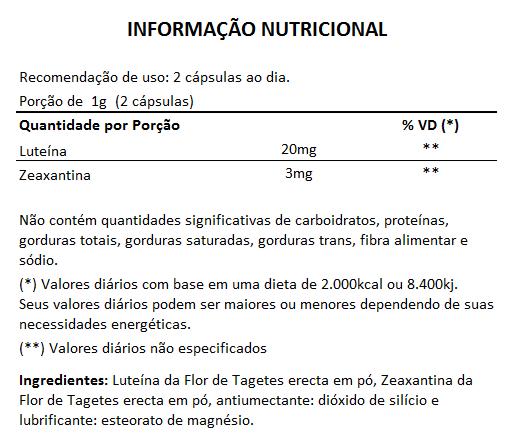 Luteína e Zeaxantina - 500mg - 03 Potes (180 cápsulas)  - LA Nature