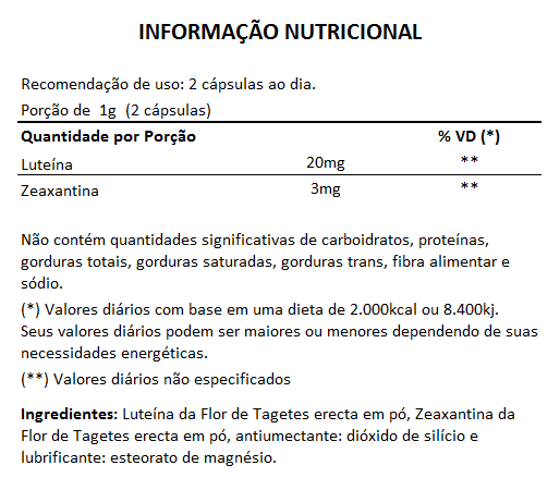 Luteína e Zeaxantina - 60 cápsulas de 500mg  - LA Nature