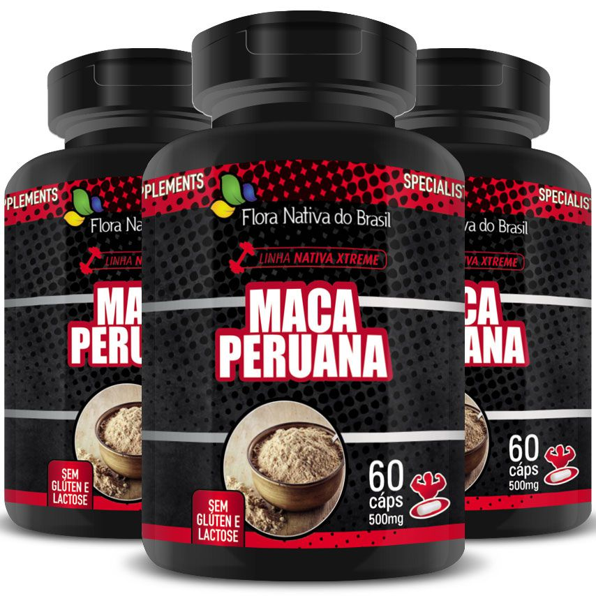 Maca Peruana Pura Original 500Mg - 3 Pts (180 cáps)