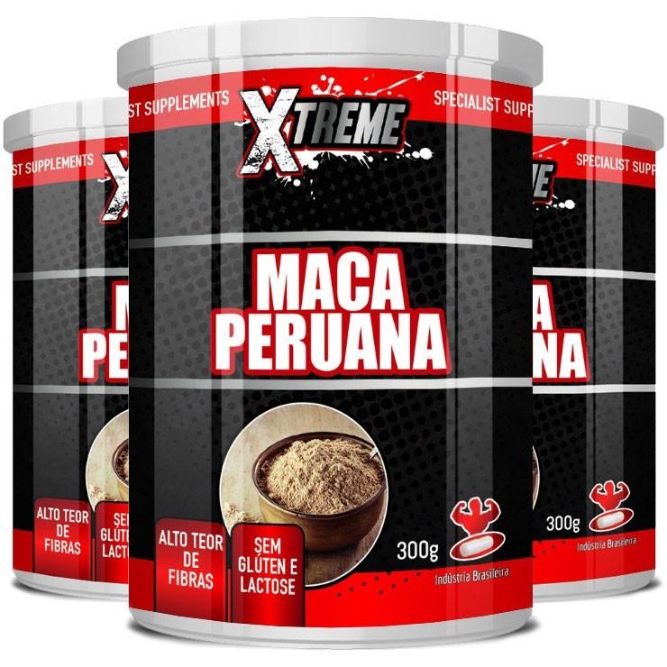 Maca Peruana em Pó, 100% Pura - Xtreme - 03 Potes com 300g (cada)