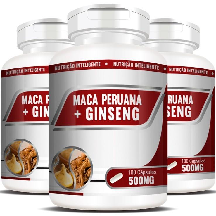 Maca Peruana + Ginseng 500mg Original - 3 Pts (300 cáps)