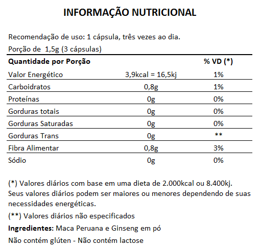 Maca Peruana + Ginseng 500mg - 03 Potes com 100 cápsulas  - LA Nature