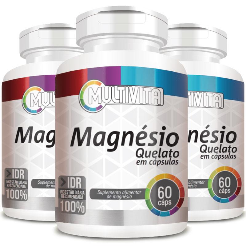Magnésio Quelato 250mg - 03 Potes (180 cápsulas)