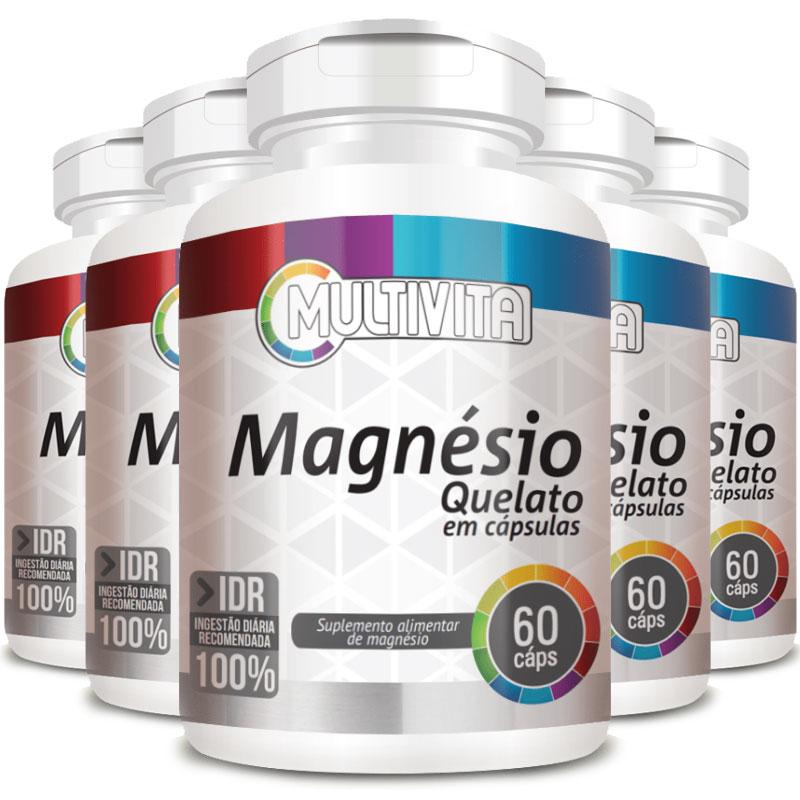 Magnésio Quelato 250mg - 05 Potes (300 cápsulas)