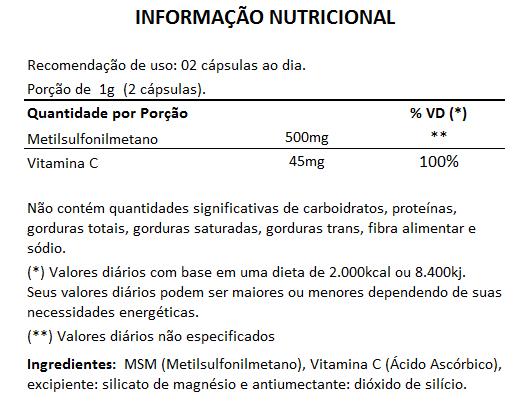 MSM - Enxofre Orgânico - 500mg (03 Potes)  - LA Nature
