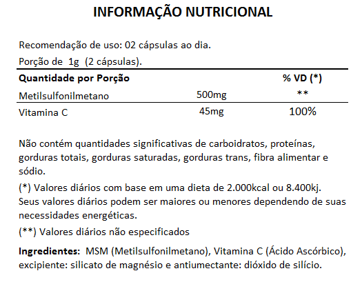 MSM - Enxofre Orgânico - 500mg (05 Potes)  - LA Nature