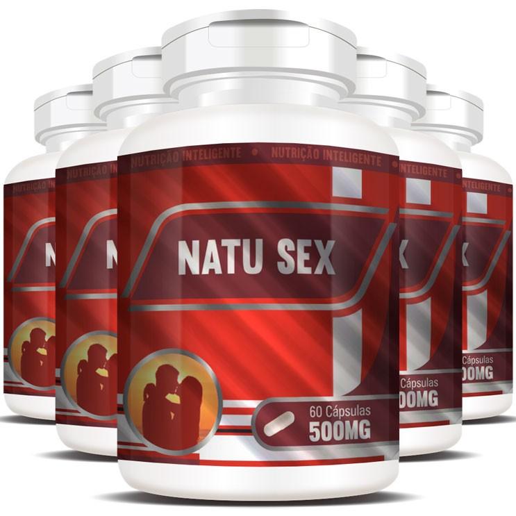 NatuSex 500mg - Original - 5 Potes (300 cáps.)