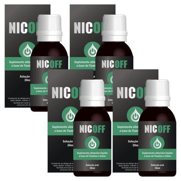 NicOff Gotas - Original - Tratamento Completo para Parar de Fumar - 4 Frascos  - LA Nature
