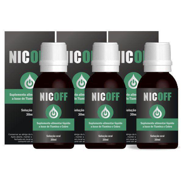 NicOff Gotas - Original - Tratamento para Parar de Fumar - 3 Frascos  - LA Nature