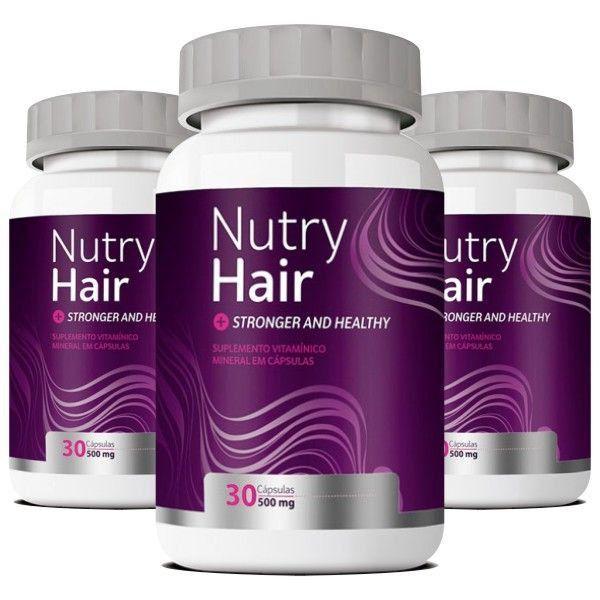 Vitamina para Cabelo - Nutry Hair 500mg - 03 Potes (Original)