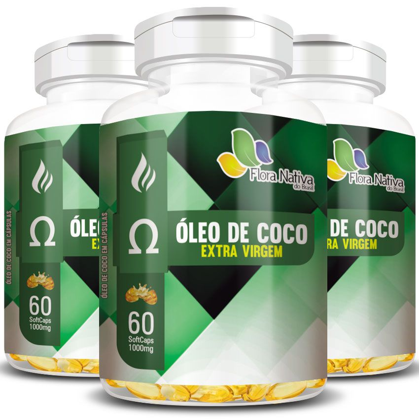 Óleo de Coco Extra Virgem - 1000mg - 03 Potes