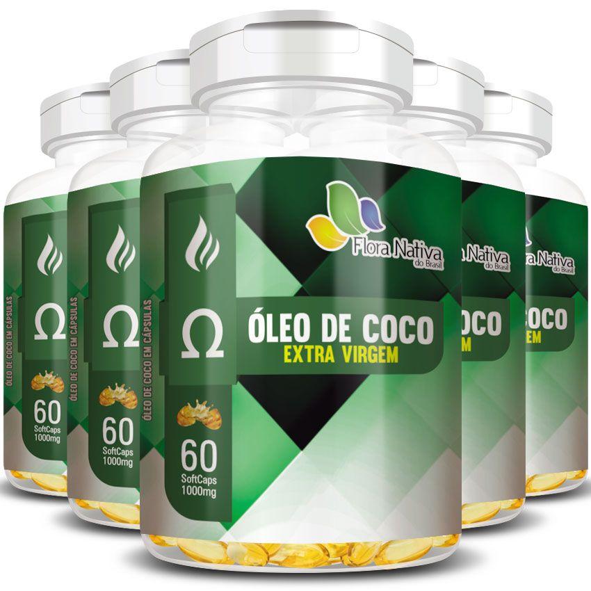Óleo de Coco Extra Virgem 1000mg - 5 Potes (300 cáps.)