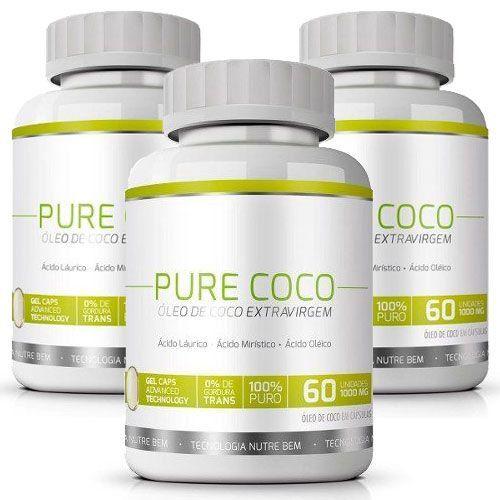 Pure Coco - Original - Óleo Coco Extra Virgem 100% - Emagrecedor - 03 Potes  - LA Nature