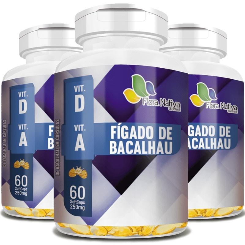 Óleo de Fígado de Bacalhau 100% Puro - 250mg - 03 Potes com 60 cápsulas (cada)