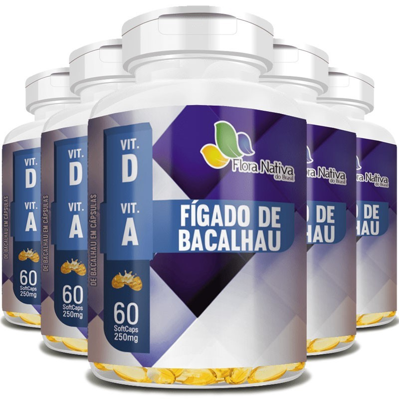 Óleo de Fígado de Bacalhau 100% Puro - 250mg - 05 Potes com 60 cápsulas (cada)