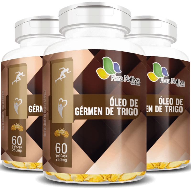 Óleo de Gérmen de Trigo 250mg - 100% Puro - 3 Potes (180 cáps.)