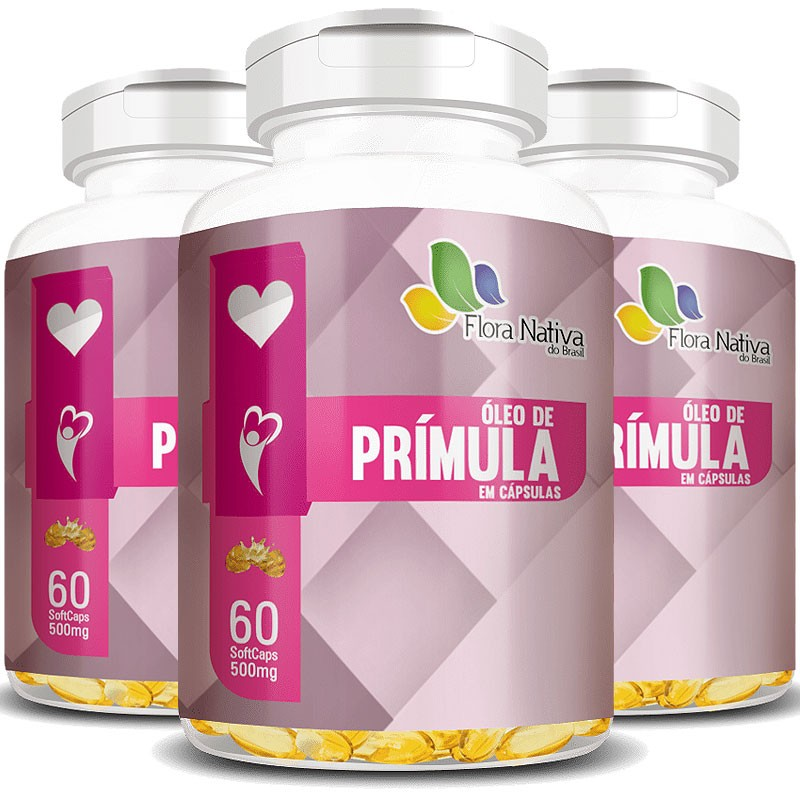 Óleo de Prímula Original 100% Puro 500mg - 3 Potes (180 cáps)