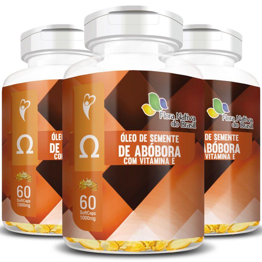 Óleo de Semente de Abóbora com Vitamina E - 1000mg - 03 Potes