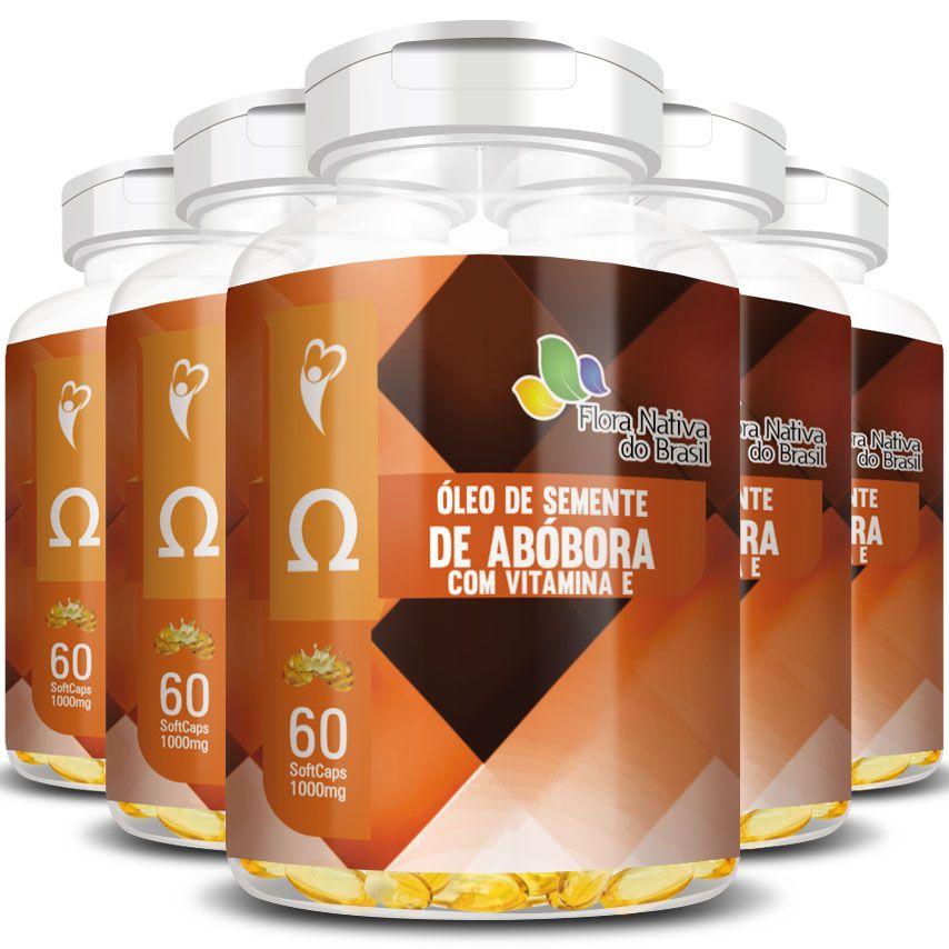 Óleo de Semente de Abóbora com Vitamina E - 1000mg -  5 Potes (300 cáps.)