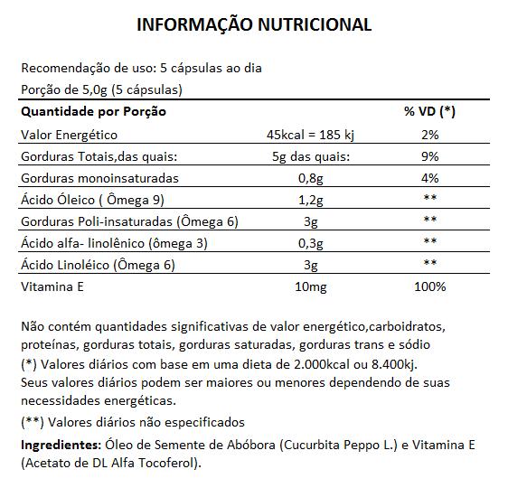 Óleo de Semente de Abóbora com Vitamina E - 1000mg - 05 Potes  - LA Nature