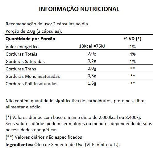 Óleo de Semente de Uva, Puro - 1000mg - 5 Potes  - LA Nature