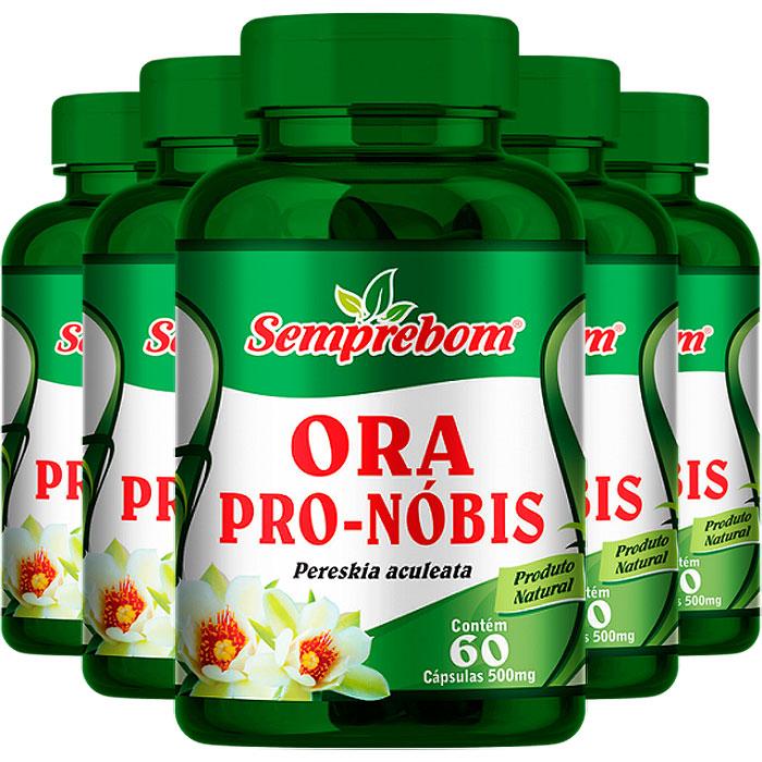 Ora Pro-Nóbis 500mg - A Legítima -100% Pura - 05 Potes (300 cáps.)