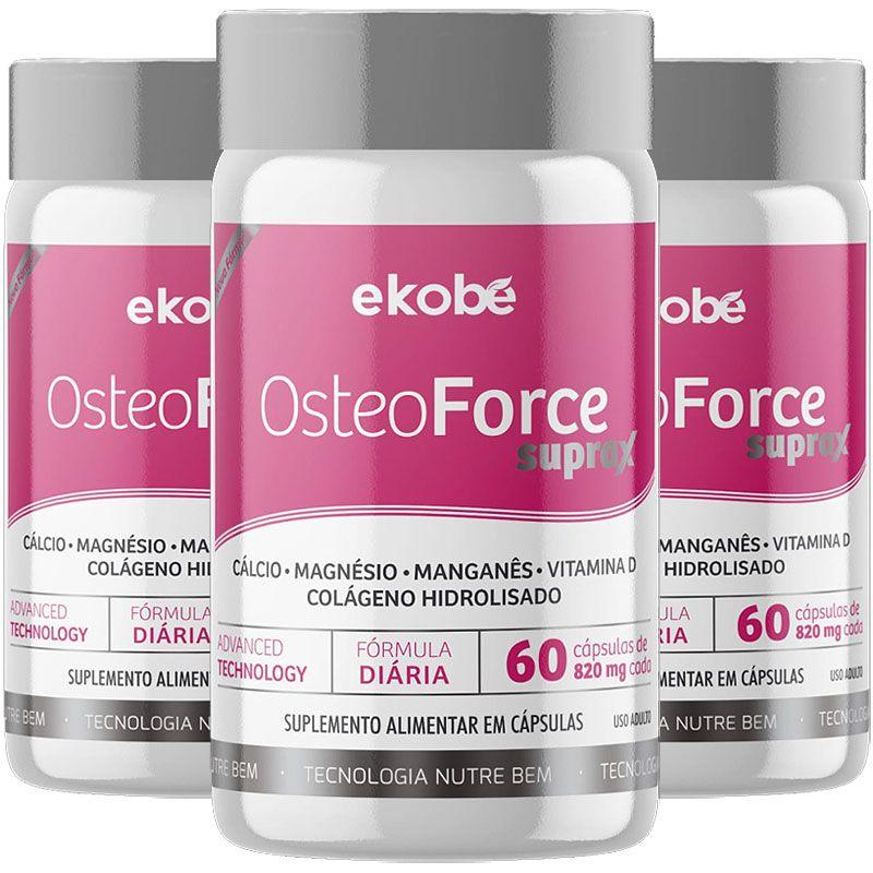 Cálcio Osteoforce Suprax Ossos Fortes 820mg - 3 Potes  - LA Nature