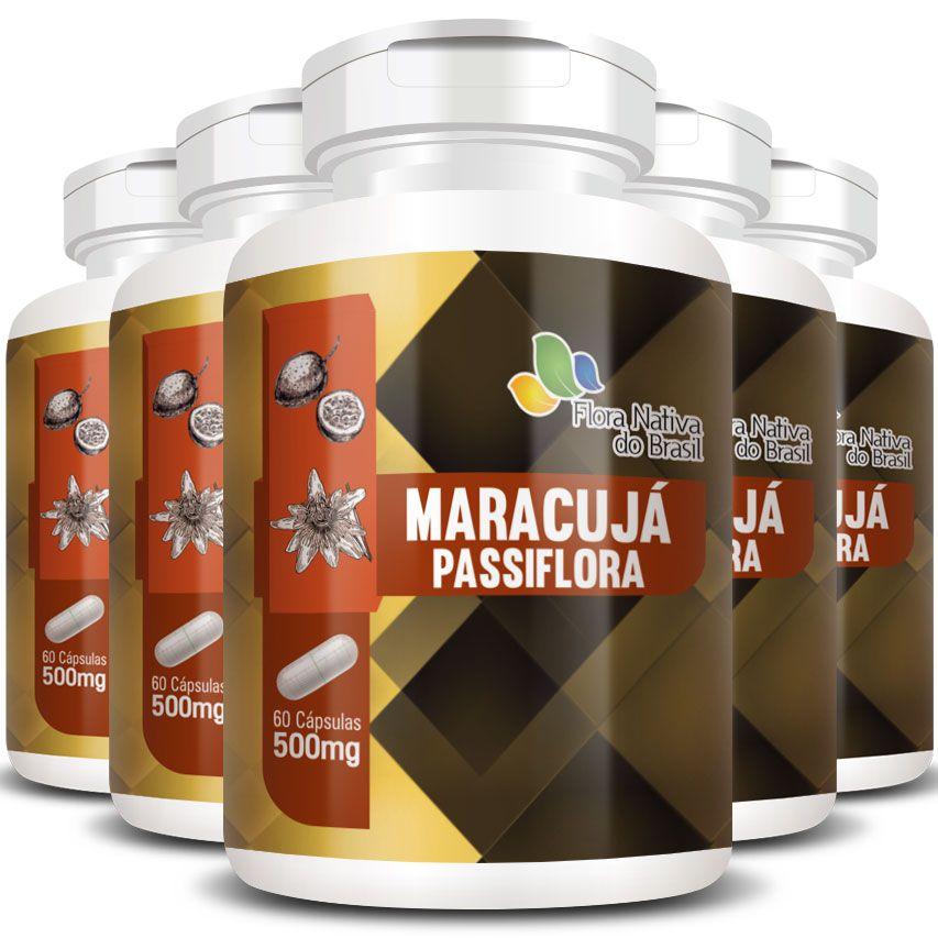 Passiflora (Maracujá) em cápsulas - 500mg - 05 Potes  - LA Nature