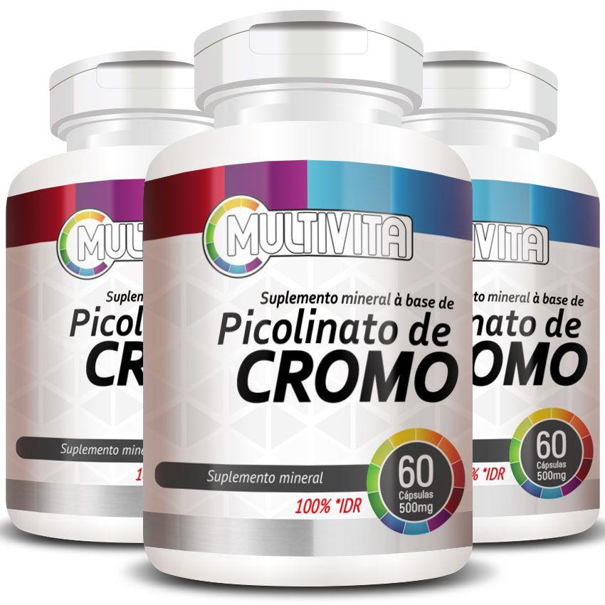 Picolinato de Cromo - 500mg - 3 Potes  - LA Nature