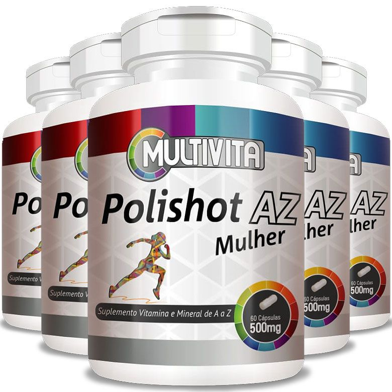 Polishot AZ Mulher (Polivitaminico / Multivitaminico)  500mg - 05 Potes  - LA Nature