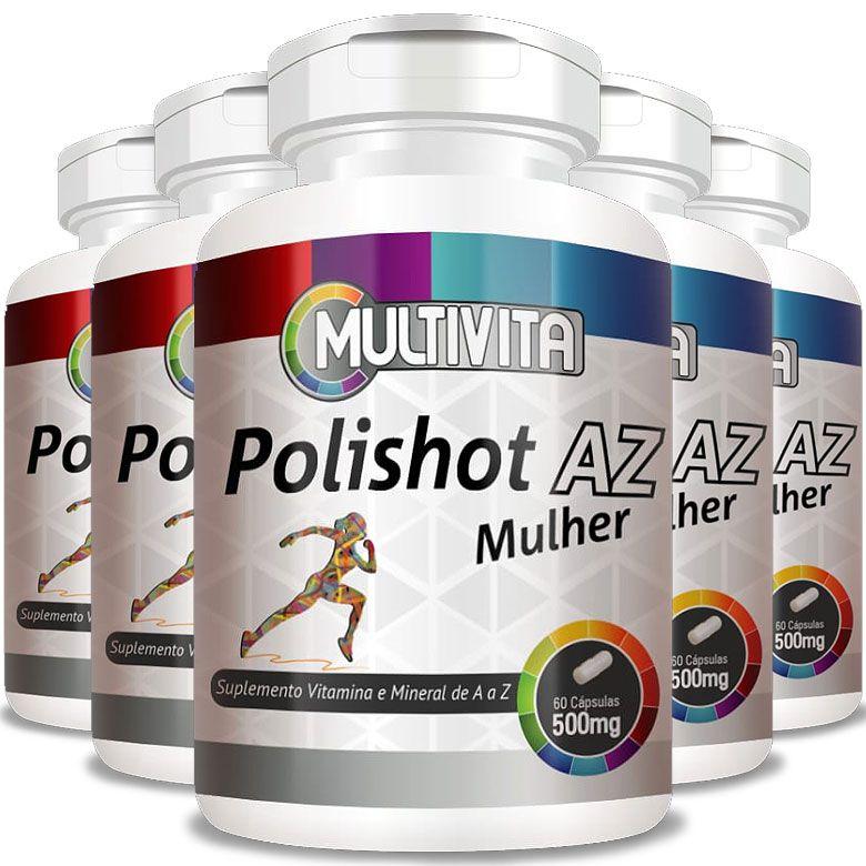 Polishot AZ Mulher 500mg (Polivitaminico / Multivitaminico) - 05 Potes (300 cáps.)