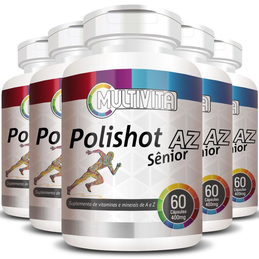Polishot AZ Senior (Polivitaminico / Multivitaminico)  400mg - 05 Potes  - LA Nature