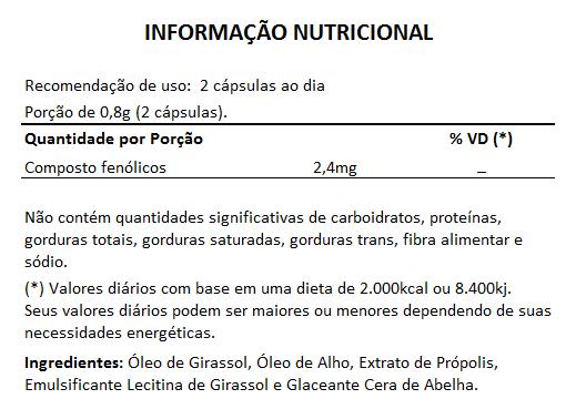 Própolis e Alho + Óleo de Girassol - 60 cápsulas de 400mg (Aumentar Imunidade)  - LA Nature