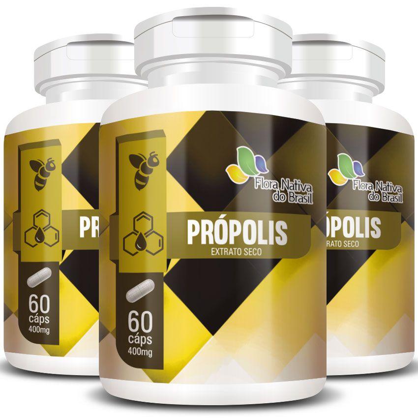 Própolis - Extrato Seco - 400mg - 3 Potes (180 cáps.)