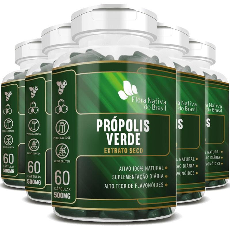 Própolis Verde - Extrato Seco - 500mg - 05 Potes com 60 cápsulas (cada)  - LA Nature
