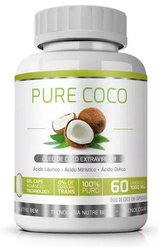 Queima Estoque - Pure Coco Original Óleo Coco Extra Virgem 1000mg - 1 Pote   - LA Nature