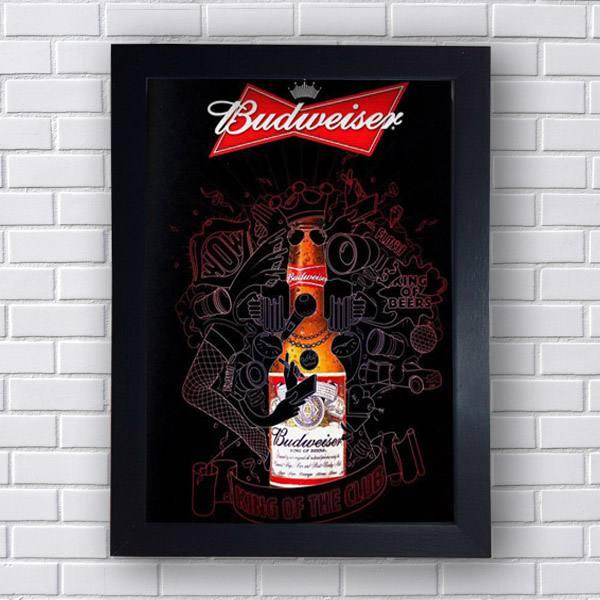 Quadro Decorativo Budweiser King of Beer - Moldura Preta